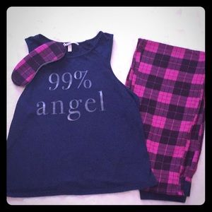 Fun Magenta/Navy Victoria's Secret Pajama Set. XS